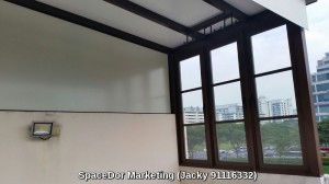 Enclose sliding glass door with aluminium composite panel shelter at attic floor